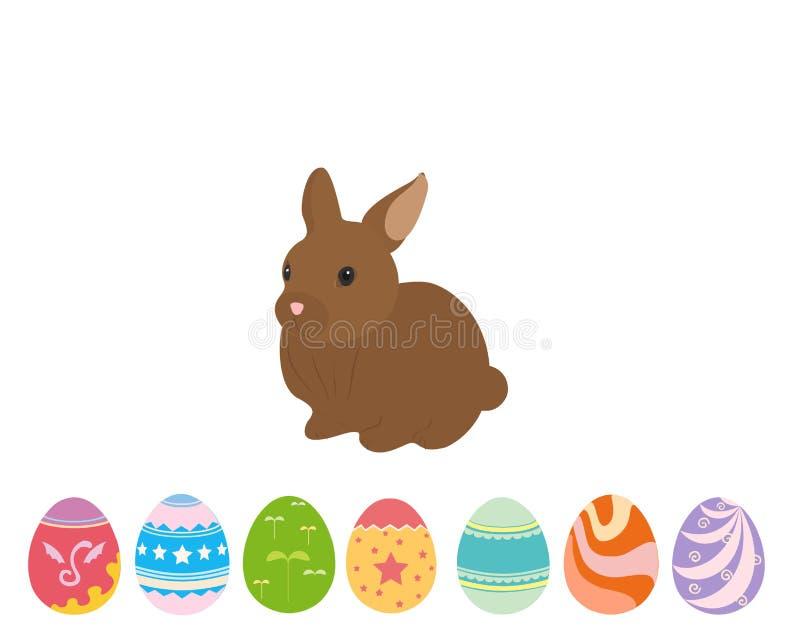 Wielkanocnego kr?lika kr?lik z Easter jajkami royalty ilustracja