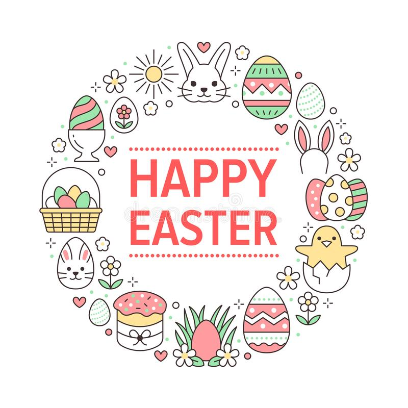 Wielkanocnej karty okręgu szablon z mieszkanie linii ikonami Barwioni jajka, kosz, jajeczny polowanie, królik, wiosna kwiaty, tor ilustracji