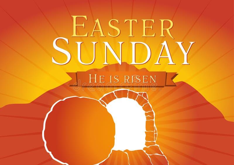 Wielkanocnej Niedziela świętego tygodnia grobowa karta ilustracji