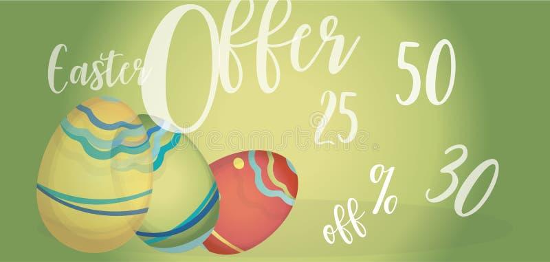 Wielkanocnej oferty Reklamowy sztandar z jajkami Daleko i procentem fotografia stock