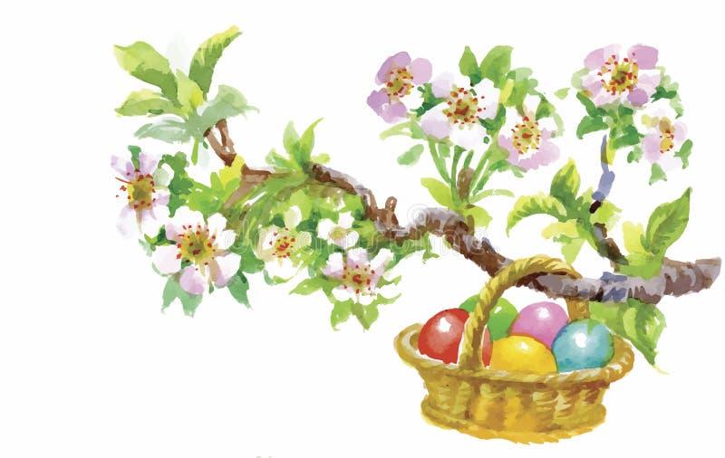 Wielkanocnej wakacyjnej akwareli łozinowy kosz wypełniał z kolorową jajko wektoru ilustracją royalty ilustracja