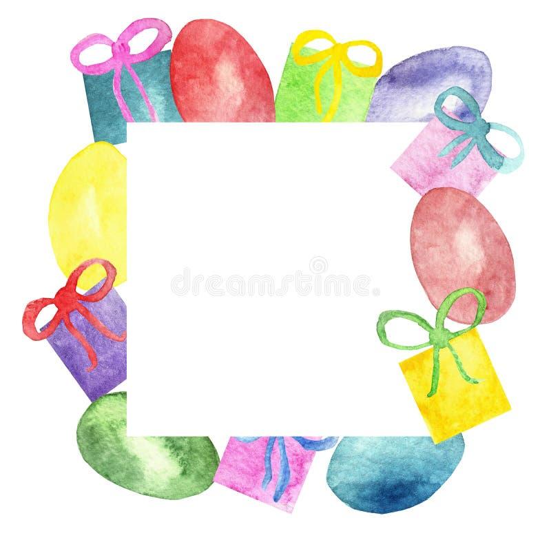 Wielkanocni śmieszni rysunki, akwareli karta z kolorowymi jajkami z pudełkami prezenty, łęki, odizolowywający na białym tle urocz ilustracji