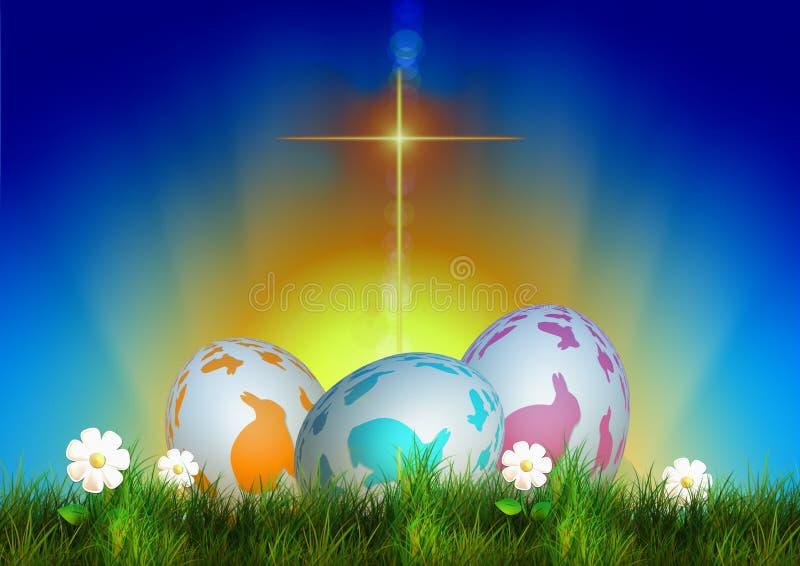 Wielkanocni barwioni jajka, krzyża światło tła wallaper ilustracja wektor