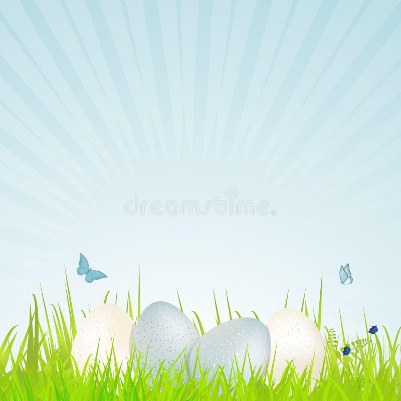 Wielkanocni biali i błękitni cętkowani jajka royalty ilustracja