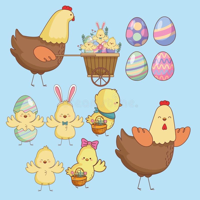 Wielkanocni dni zwierzęta, jajka i royalty ilustracja