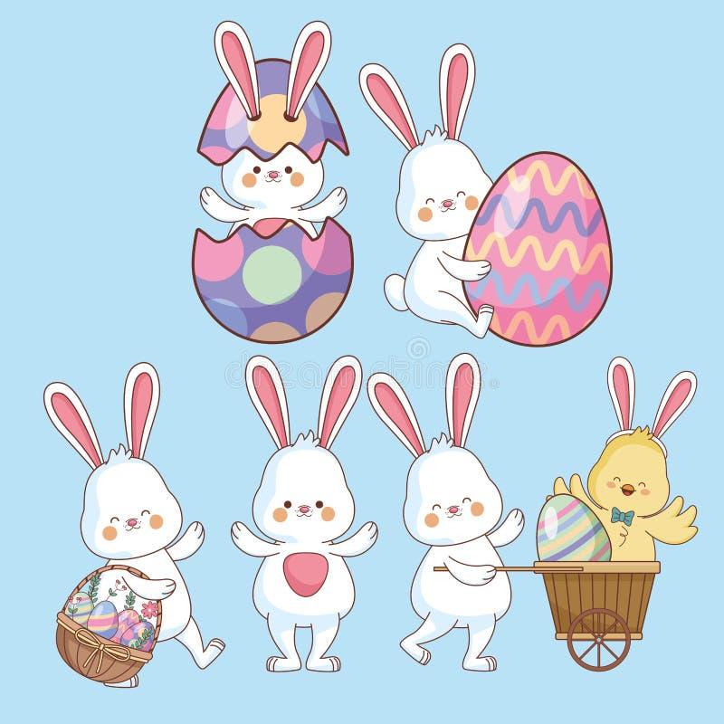 Wielkanocni dni zwierzęta, jajka i ilustracja wektor