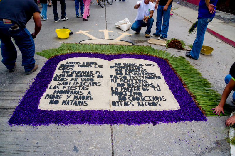 Wielkanocni dywany w Antigua Guatemala fotografia royalty free