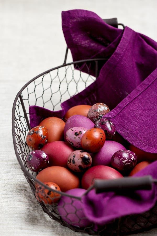 Wielkanocni jajka barwili w purpurowym i brown w koszu fotografia stock