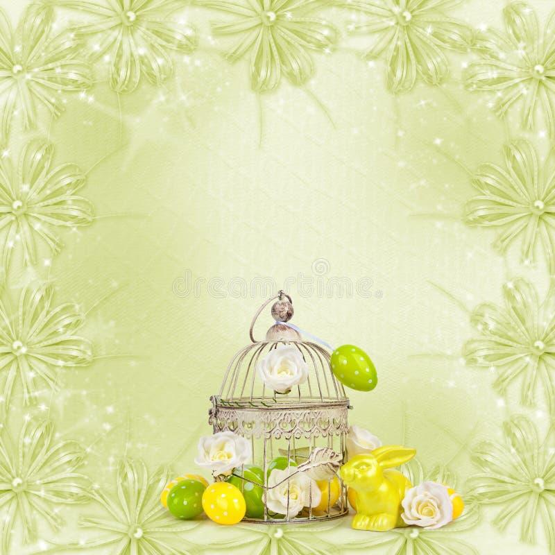 Wielkanocni jajka i śmieszny królik na abstrakcjonistycznym tle royalty ilustracja