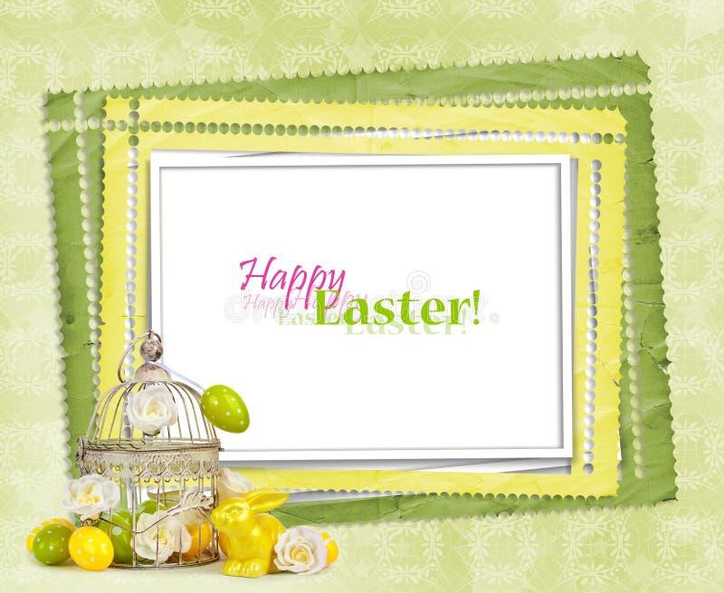 Wielkanocni jajka i śmieszny królik na zielonym tle ilustracja wektor