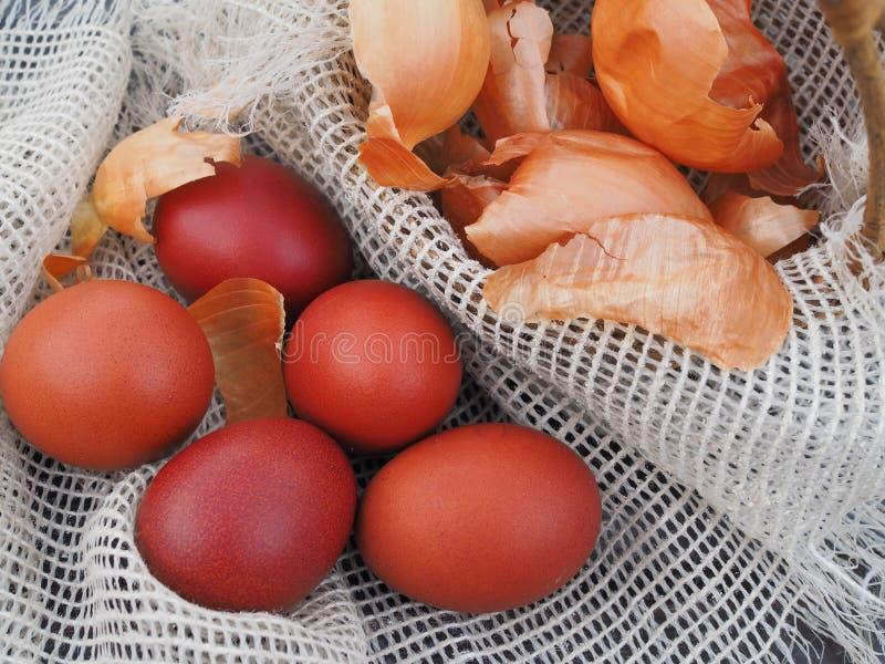 Wielkanocni jajka i cebulkowe plewy w koszu obraz royalty free