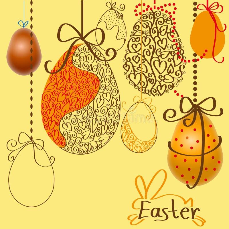 Wielkanocni jajka na arkanach royalty ilustracja