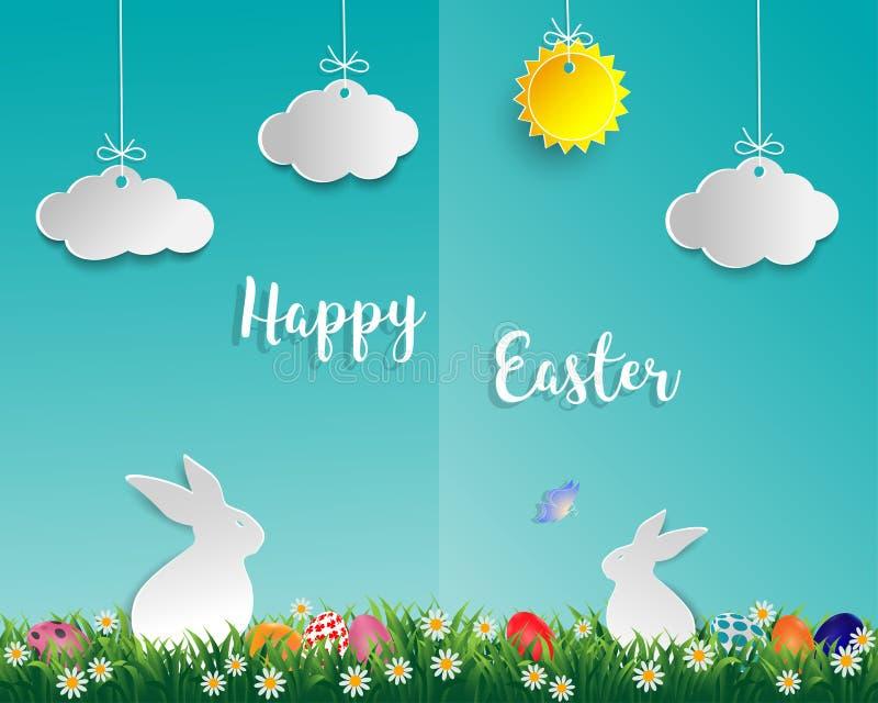 Wielkanocni jajka na zielonej trawie z białym królikiem, małą stokrotką, motylem, chmurą i słońcem na miękkim błękitnym tle, papi ilustracji