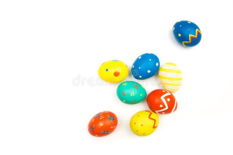 Wielkanocni jajka odizolowywający na białym tle, odgórny widok zdjęcia stock