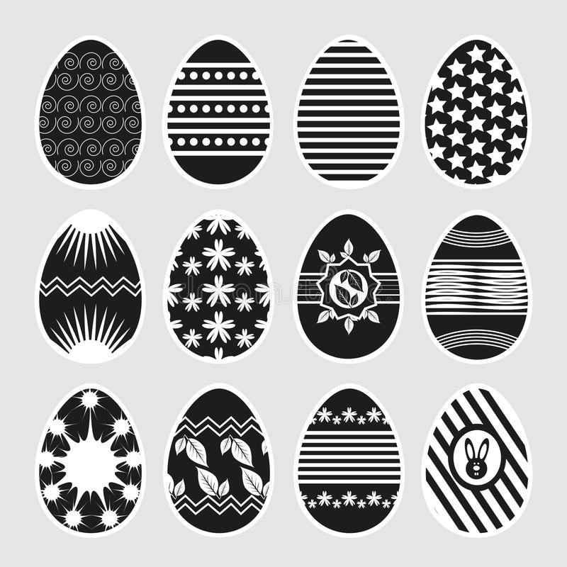Wielkanocni jajka w czarny i biały ilustracji