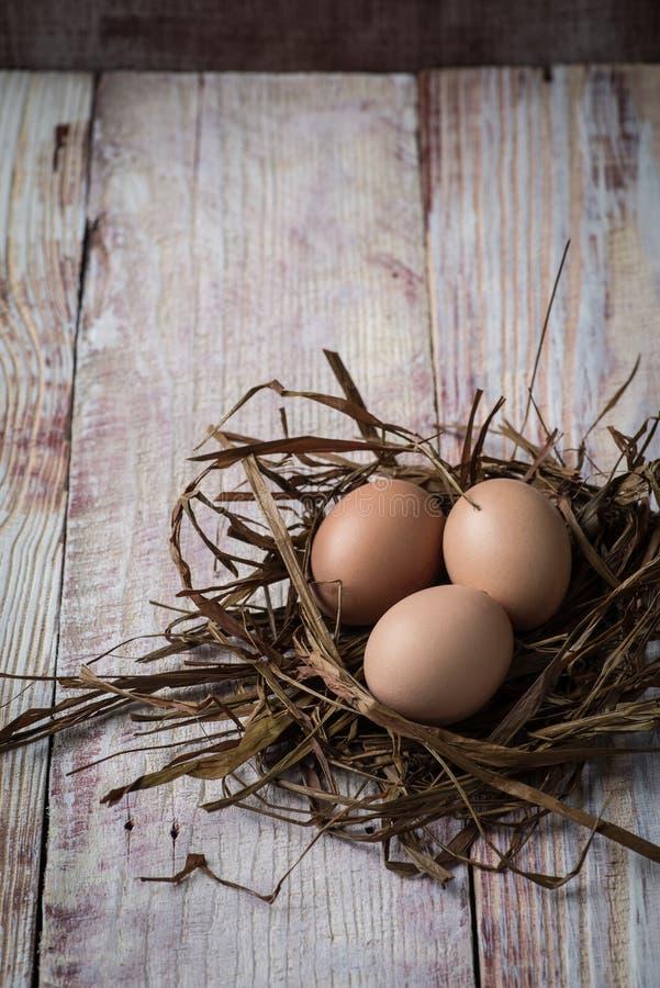 Wielkanocni jajka w gniazdeczku na nieociosanych drewnianych deskach obraz royalty free