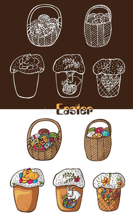 Wielkanocni jajka w koszach i tortach ilustracji