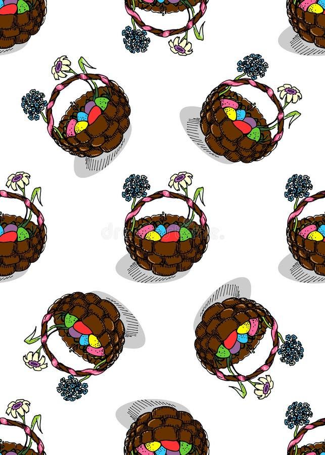 Wielkanocni jajka w Koszykowym Bezszwowym wzorze ilustracja wektor