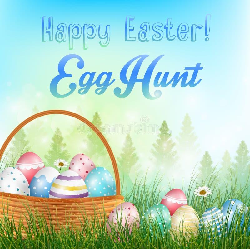 Wielkanocni jajka w koszykowym tle z polem drzewa i barwioni jajka w trawie ilustracji