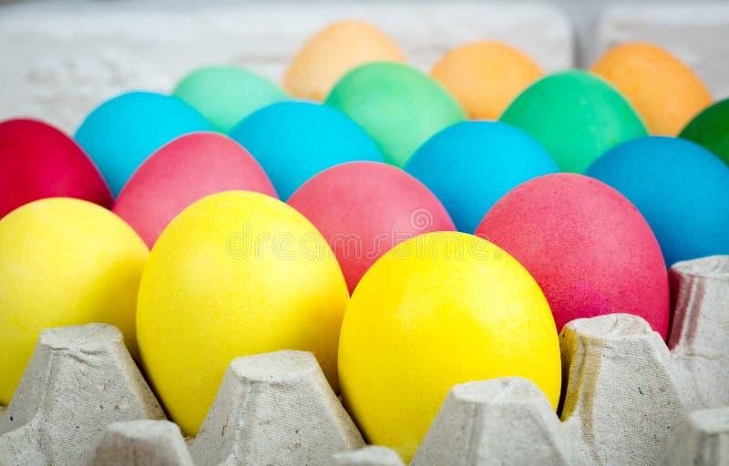 Wielkanocni jajka w tacy fotografia royalty free