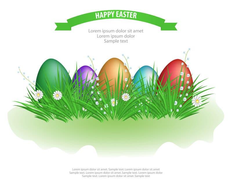 Wielkanocni jajka w zielonej trawie z kwiatami odizolowywaj?cymi na bia?ym tle projekta ga??ziasty dekoracyjny element wektor ilustracji
