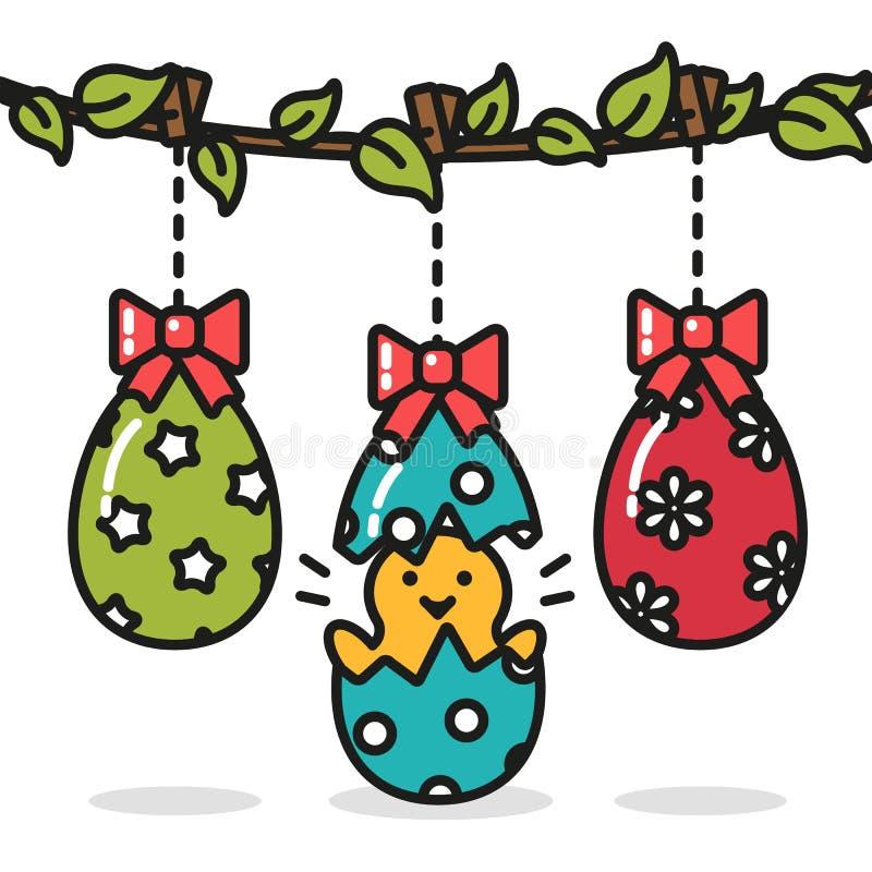Wielkanocni jajka wiesza i kurczak śmieszna niespodzianka ilustracji