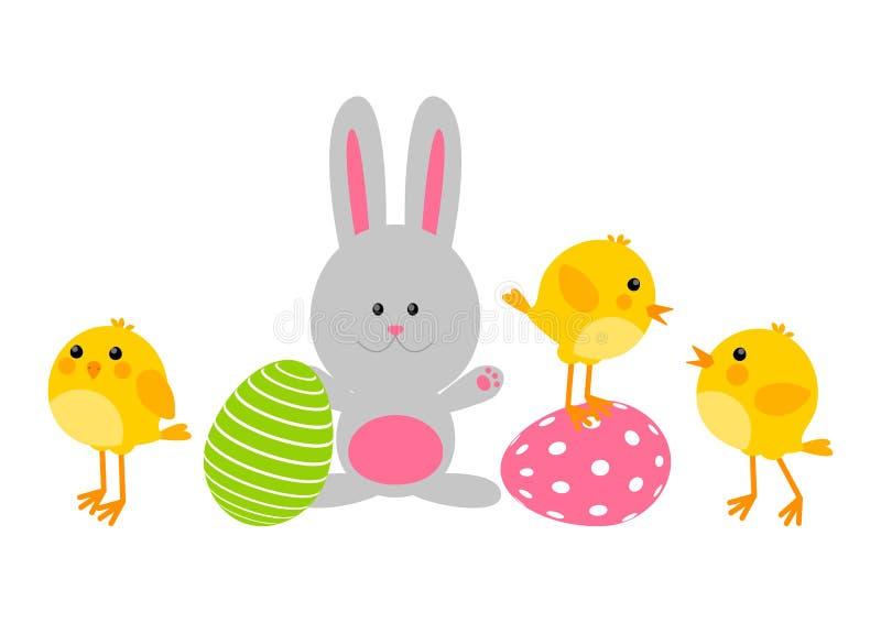 Wielkanocni jajka z ślicznymi kurczakami królik royalty ilustracja