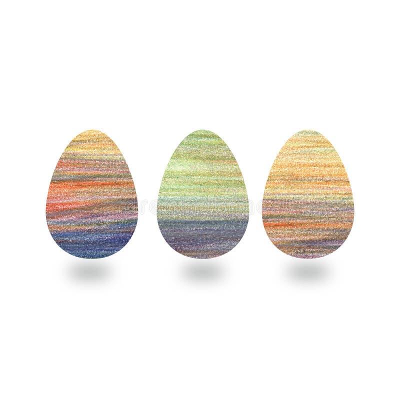 Wielkanocni jajka z kolor kredki ołówkowymi uderzeniami, ręka rysującym elementem i białym tłem, ilustracji