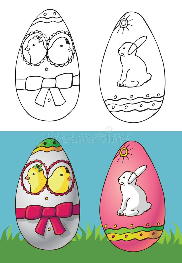 Wielkanocni jajka z kurczakami i białym królikiem ilustracja wektor