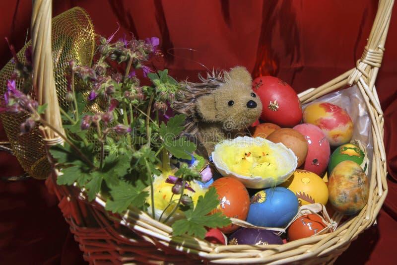Wielkanocni jajka z kwiatami i jeżem w koszu obrazy stock