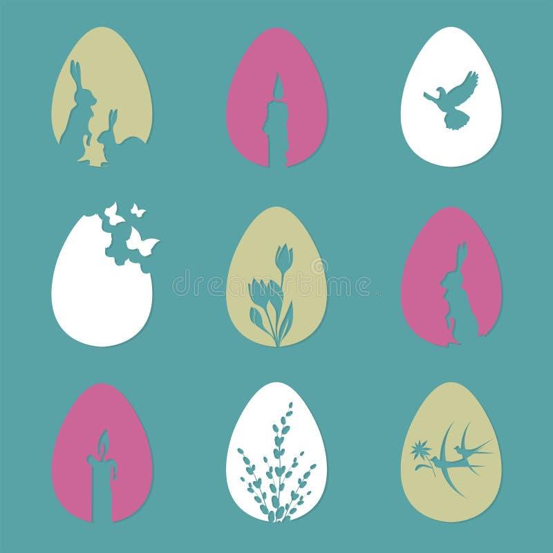 Wielkanocni jajka z sylwetką królik, świeczki, wierzbowe gałąź, set ilustracja wektor