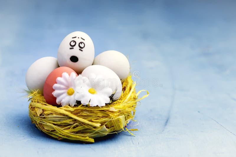 Wielkanocni jajka Z twarzami w koloru żółtego gniazdeczka zabawy Wielkanocnego pojęcia tła kopii Wielkanocnej przestrzeni fotografia royalty free