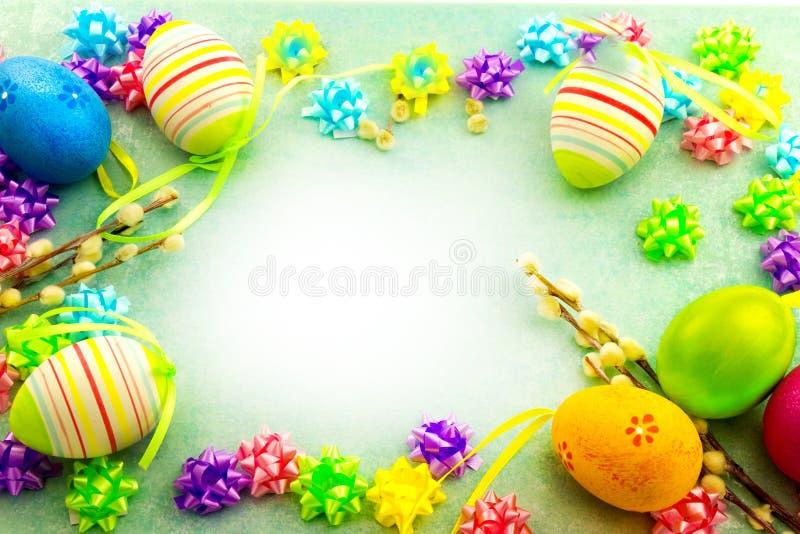 Wielkanocni kolorowi jajka, rama obrazy stock