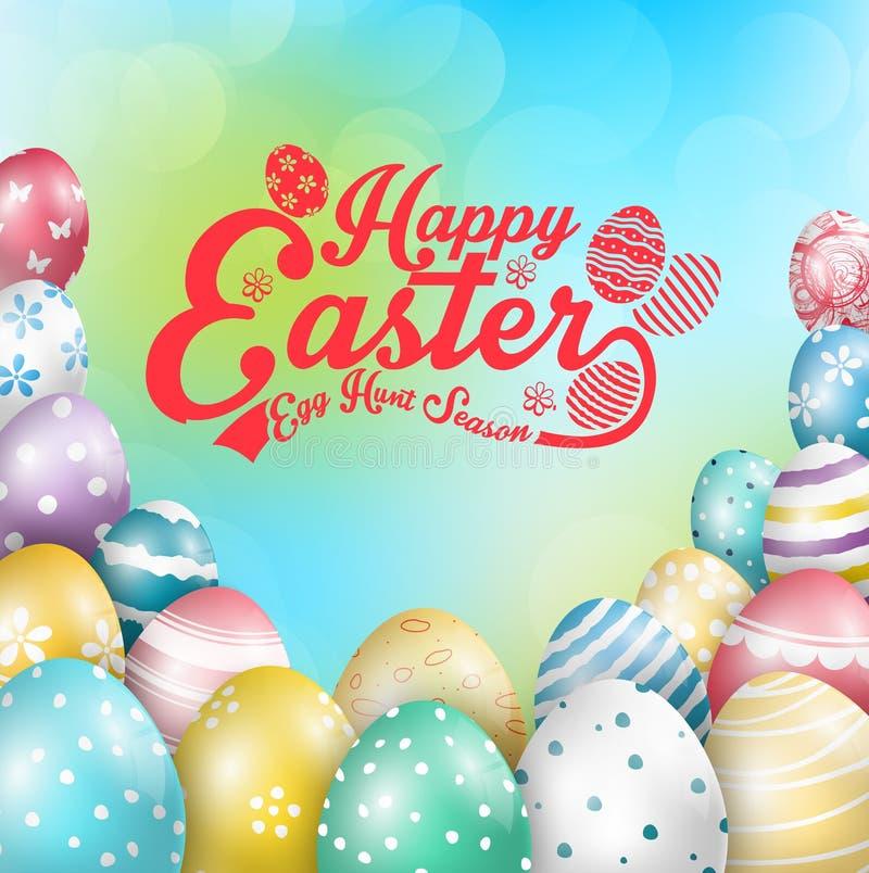 Wielkanocni kolorowi jajka z projekt zieleni Błękitnym Kreatywnie tłem royalty ilustracja