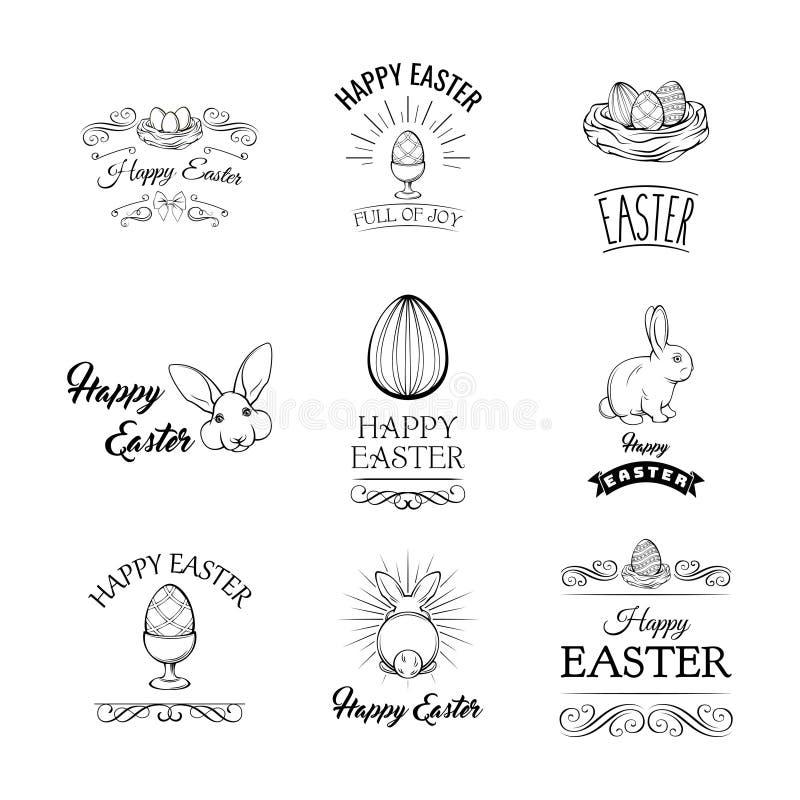 Wielkanocni projektów elementy ustawiający Kolekcja Szczęśliwi Wielkanocni przedmioty również zwrócić corel ilustracji wektora ilustracji