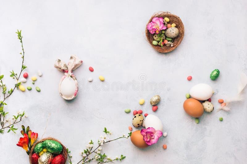 Wielkanocni przepiórki i kurczaka jajka z wiosny okwitnięciem rozgałęziają się zdjęcia royalty free