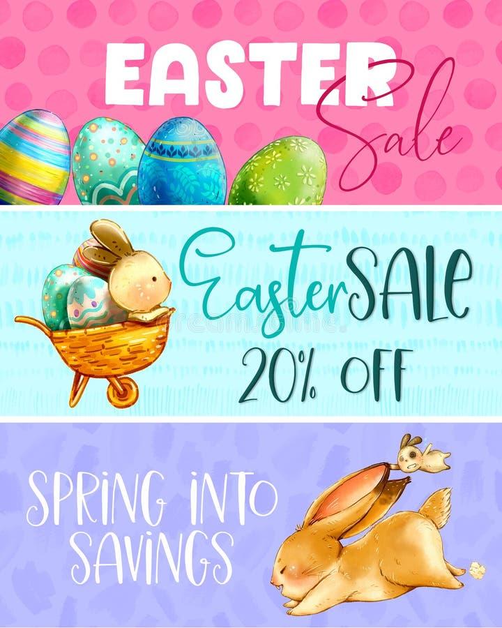 Wielkanocni wiosna królików sprzedaży sztandary ilustracji