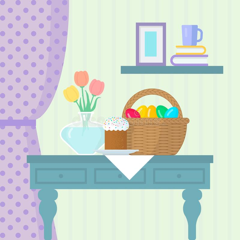 Wielkanocny życie z tortem, koszem z jajkami i wazą na stole, royalty ilustracja