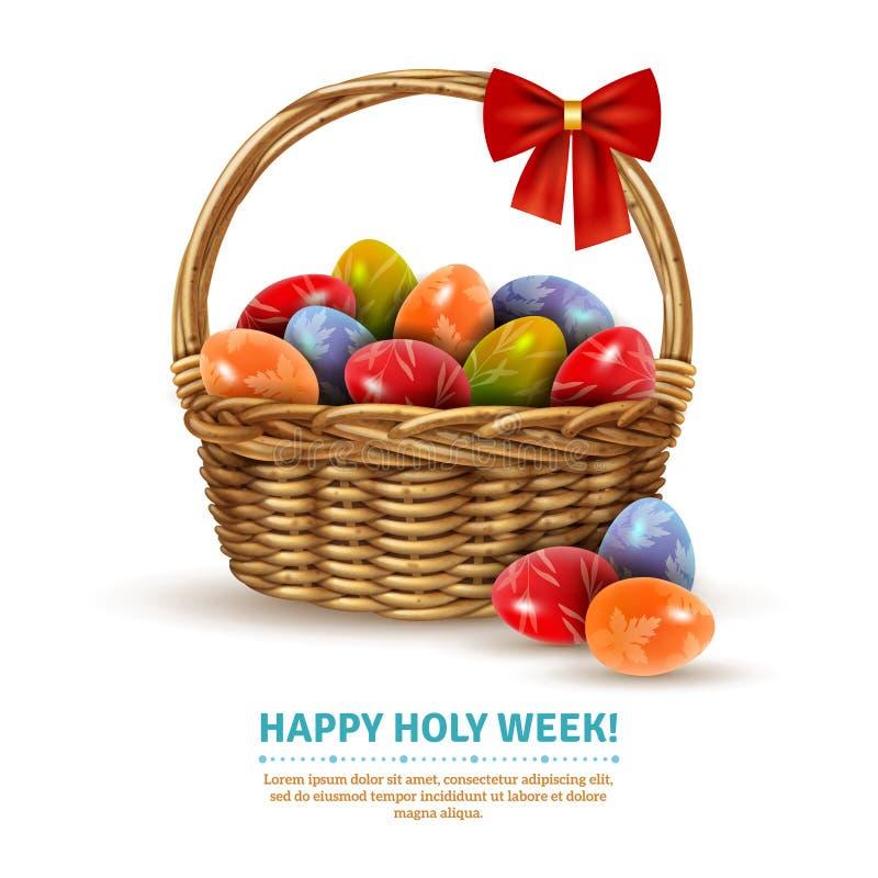 Wielkanocny Łozinowego kosza Realistyczny wizerunek royalty ilustracja