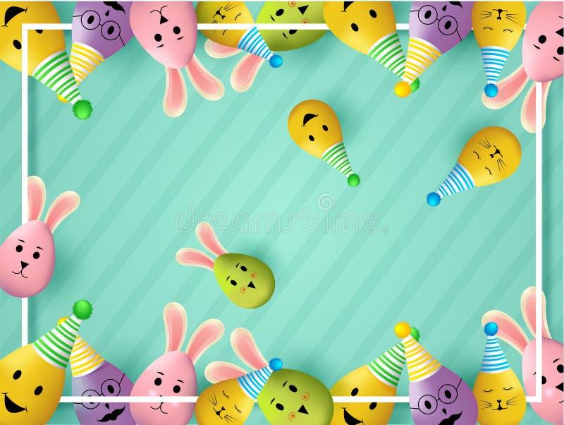Wielkanocny świętowanie lampasa tło dekorował z ślicznymi jajkami jako królik ilustracji