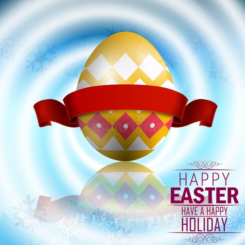 Wielkanocny żółty jajko z czerwonym faborkiem na bielu wiruje tło royalty ilustracja