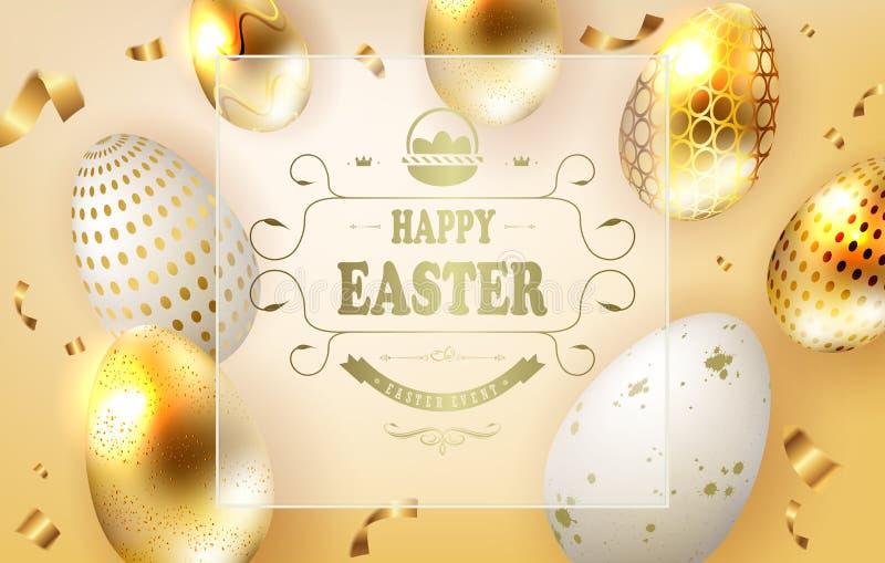 Wielkanocny żółty skład z złotymi jajkami i przejrzystą ramą z tekstem, royalty ilustracja