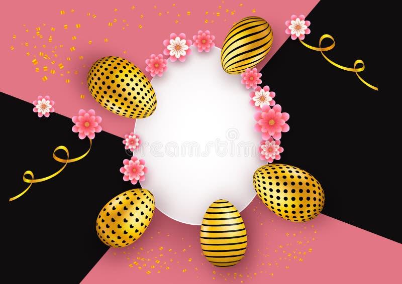 Wielkanocny abstrakcjonistyczny tło z złotymi dekorującymi jajkami, faborkami i papierową sztuką, kwitnie Dekoracja elementy dla  royalty ilustracja