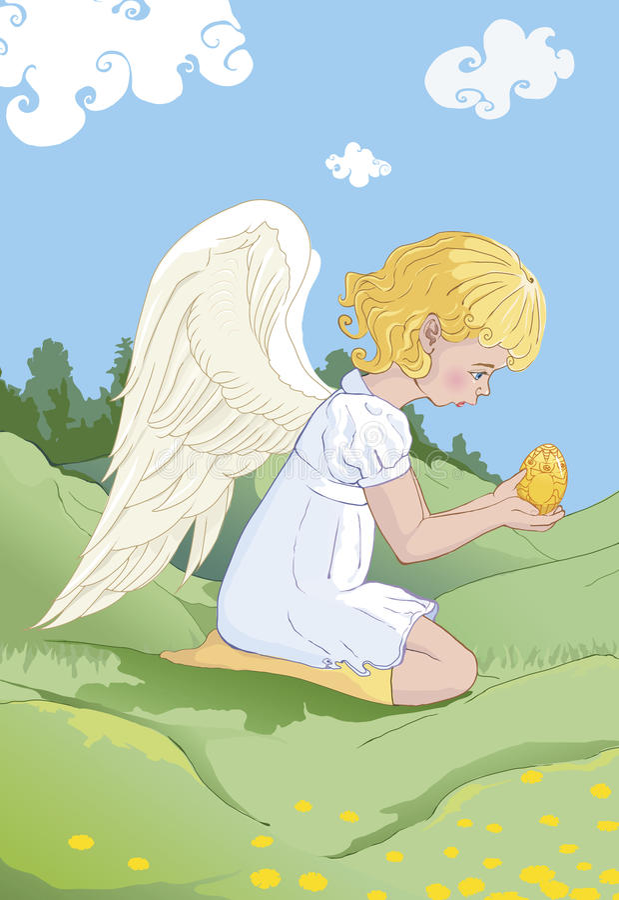 Download Wielkanocny Anioł Z Jajkiem. Ilustracja Wektor - Ilustracja złożonej z kędzierzawy, anioł: 28973973