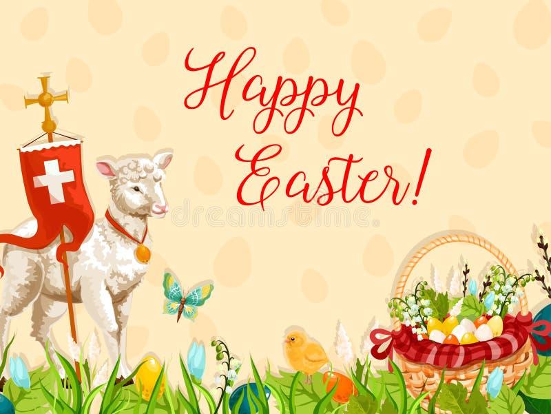 Wielkanocny baranek bóg z przecinającym kartka z pozdrowieniami projektem royalty ilustracja