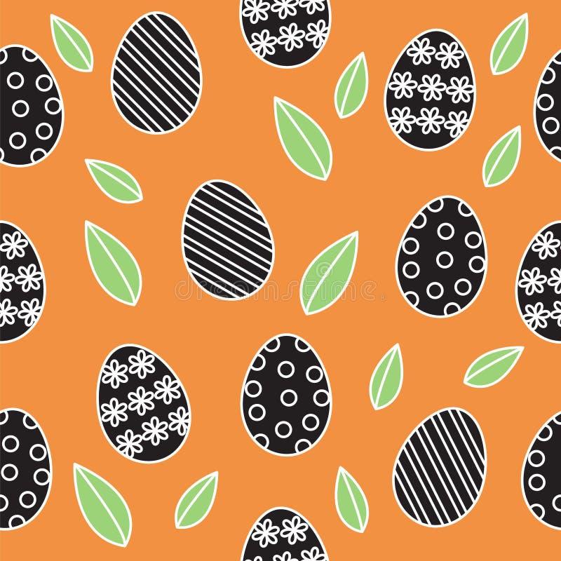 Wielkanocny bezszwowy deseniowy wektorowy tło, śliczny konturu czerń ilustracja wektor