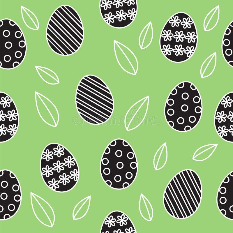 Wielkanocny bezszwowy wektorowy tło, śliczny kontur czarny i biały royalty ilustracja