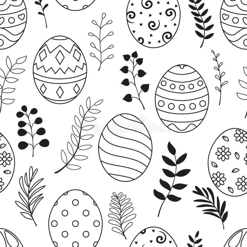 Wielkanocny bezszwowy wzór z czarnymi kwiatami i jajkami na białym tle royalty ilustracja