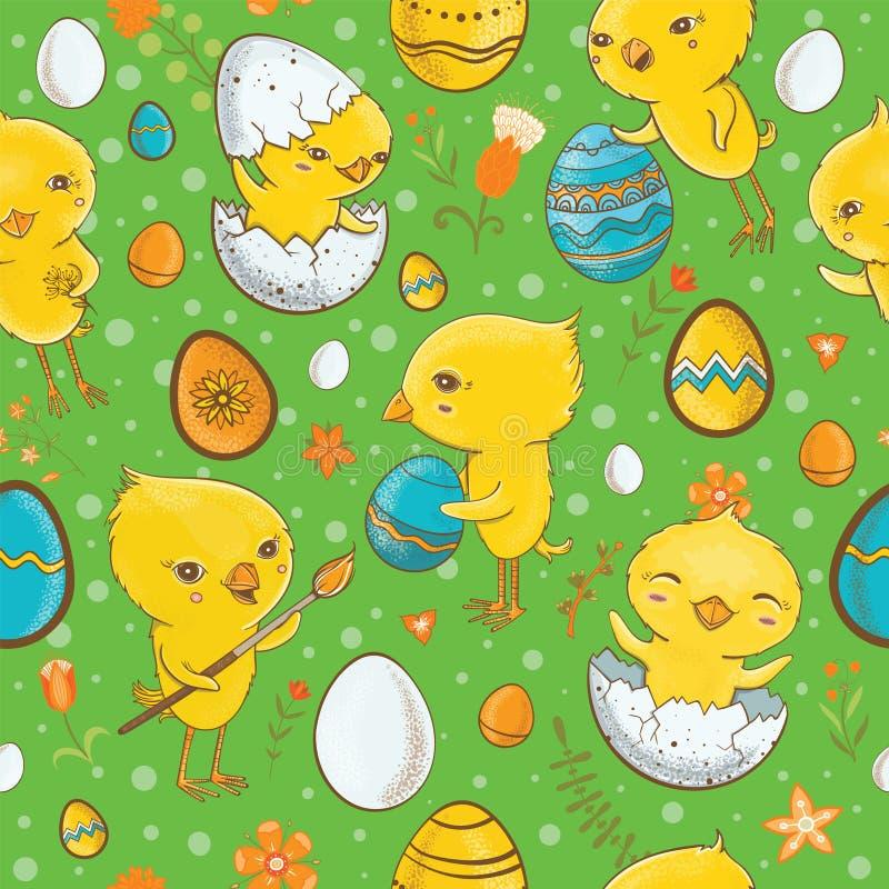 Wielkanocny bezszwowy wzór z kurczątkami royalty ilustracja
