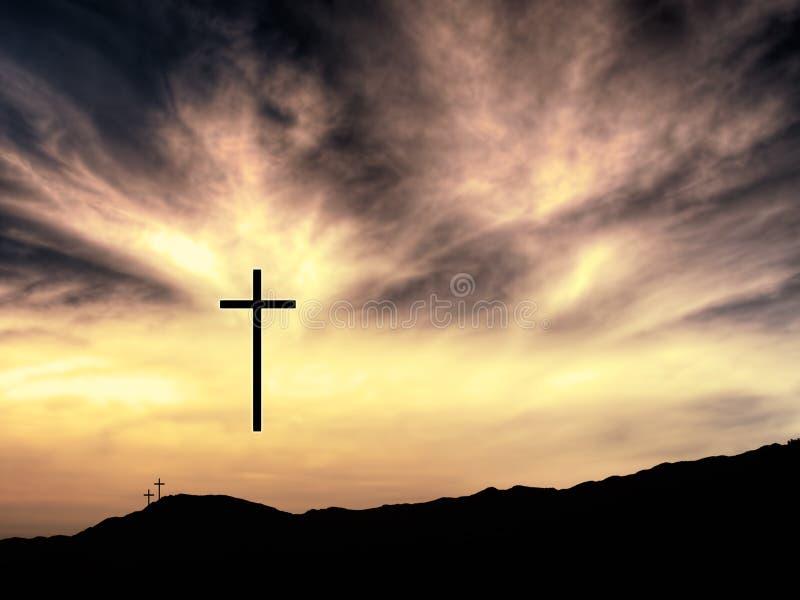 Wielkanocny Chrześcijański tło, krzyże, krajobraz, wzrasta fotografia stock